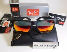 New Ray Ban Justin RB4165 622/6Q Matte Black Frame W/Red Mirror Sunglasses 54MM