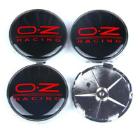 Schwarz Rot 4 x 68mm OZ Racing Alufelge Nabenkappen Nabendeckel Satz