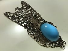 60s Huge Fly Style Ring Turquoise Color  Silver Tone Kim Craftsmen
