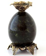 Candle Holder Art Bronze Flower Green Russian Serpentine Stone Carved Egg 3.2""