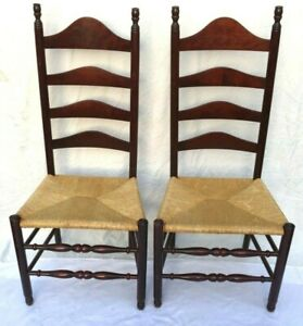 2 Antique French Country Cherry Wood Ladderback Chairs with Rush Seats - Rare!!