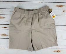 New BRECKENRIDGE Women's Shorts Sz 4P Brown Pebblestone Twill Elastic Waist   01