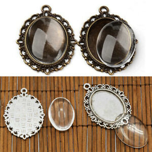 10Set Glass Cabochon Cameo Charms Pendant+Oval Bases Setting Tray Blank Jewelry