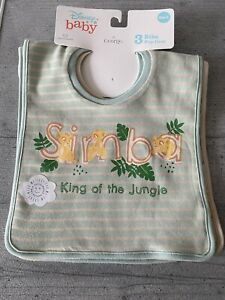 Disney Baby Bibs - The Lion King Simba - Popover Style - 3 Pack - 100% Cotton