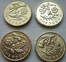 FULL SET OF FOUR £1 ONE POUND UK FLOWER COINS HUNT WELSH IRISH ENGLISH SCOTTISH#