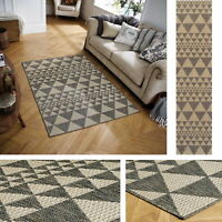 Triangle Geometric Prism Flatweave Utility Mats Rugs Hall Runners Grey Anti Slip