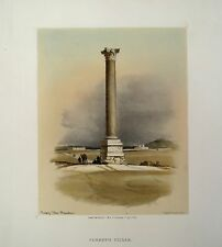 Lithographie de Roberts, La colonne de Pompey, Egypte