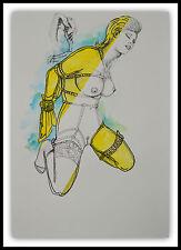 Grafik Erotik Act ORGINAL NO Poster Love Nude Bsm Sm Drawing Urban Art 30x40