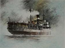 John Kelly Maritime Art Orginal Stone Lithograph Signed Numbered Tramp Steamer