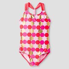 Kids Plus size XXL Plus 18P Swim  Girls Cat & Jack One Piece Polka dot pink gold