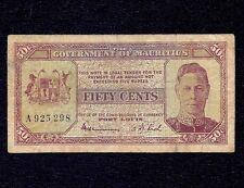 Mauritius 50 Cents  1940  P-25b   * King George VI * RARE *  left. Prefix A