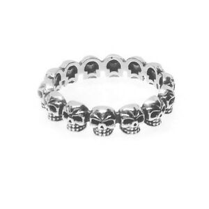 Biker Goth Style Oxidised 925 Sterling Silver Stacking Stacker Skull Band Ring