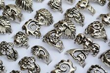 HOt style 5pcs wholesale lots skull carved biker men silver Prings jewelry FREE