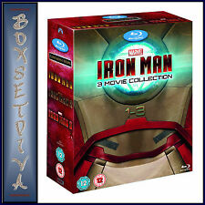 IRON MAN  1 2 & 3 - MARVEL- 3 MOVIE COLLECTION *BRAND NEW  BLU-RAY BOXSET-*