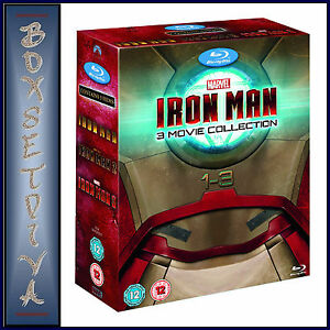 IRON MAN  1 2 & 3 - MARVEL- 3 MOVIE COLLECTION *BRAND NEW  BLU-RAY BOXSET-*
