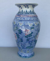 "Chinese Vase Blue Pink And White Flowers 13 1/2"" Tall"