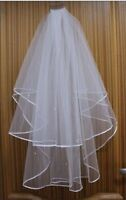 White/Ivory 2T Beading Edge Embroidered Bridal Wedding Veil With Comb