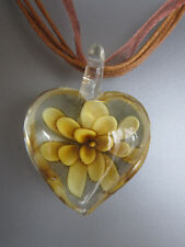 Brown Lampwork Heart Flower Necklace - 17 inch Ribbon & cord