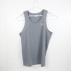 Under Armour Mens Sleeveless T-Shirt Size L Grey HeatGear Muscle Tank Top