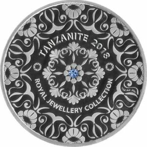 5 Cedis Ghana 2018 - 1 OZ Royal Jewellery Collection mit Tansanit