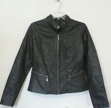 NEW Bernardo Women's Faux Leather Vintage Rubbed Style Moto Jacket Army Green M