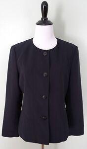 TALBOTS Navy Blue 4 Button Polka Dot Blazer Coat Suit Jacket Size 8 P Petite EUC