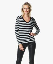 VELVET By Graham & Spencer Urbana Cozy Stripe Jersey V Neck Sweater Top Black S