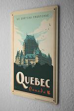 Tin Sign World Tour  Quebec Canada Frontenac Castle  Metal Plate