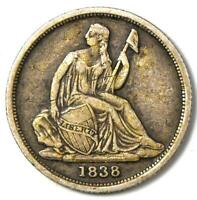 1838-O Seated Liberty Dime 10C Coin - VF Details - Rare New Orleans Date!
