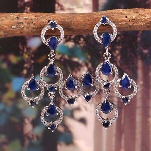 Blue Sapphire Dangle Bridal Earrings Long Statement 925 Sterling Silver Handmade