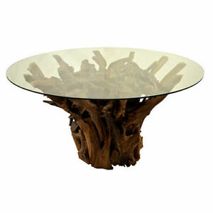 Solid Teak Root Reclaimed Dining Table with 150cm Toughened Glass