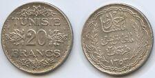 G0310 - Tunisia 20 Francs AH1353-1934 KM#263 Silver RAR Tunisie Tunesien