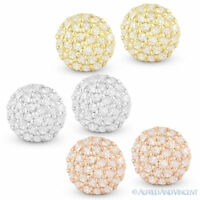 0.17 ct Round Cut Diamond Pave Stud Earrings 14k Yellow Rose or White Gold Studs
