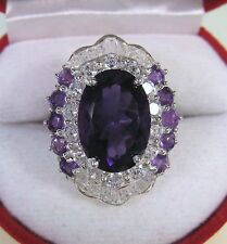 7.51 CTW AMETHYST & WHITE SAPPHIRE RING #6.25 - WHITE GOLD over 925 SILVER