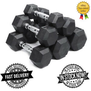 HEX DUMBBELLS SET CAST IRON RUBBER ENCASED WEIGHTS 2.5KG 5KG 15KG