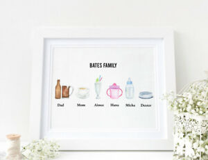 Personalised DRINKS Watercolour Word Art Family Print New Home Mother's Day Gift