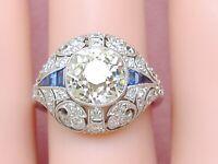 DECO 2.59ct OLD MINE CUSHION DIAMOND SAPPHIRE PLATINUM ENGAGEMENT COCKTAIL RING