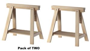 2 x Ikea Adjustable Height FINNVARD TRESTLE TABLE Wooden Stand Leg + Shelf,Birch