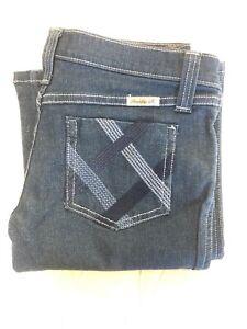 FRANKIE B Women's  Slim FLARED/boot Cut Dark Blue Jeans Size 8x35