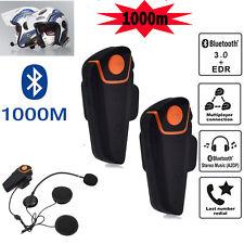 2X 1000M BT Bluetooth Motorbike Interphone Intercom Motorcycle Helmet FM Headset