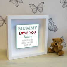 'Mummy love you...' Box Frame with 3D Metal Artwork - Personalised Picture Gift