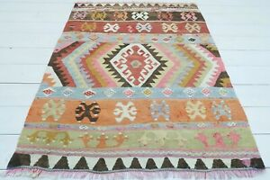"Turkish Antalya Small Kilim Rug, Doormat, Bathmat, Carpet Teppiche Tapis 37""x48"""