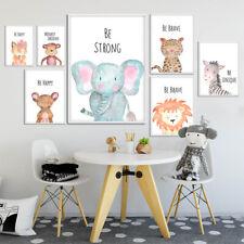 Animal bosque cartel Impresión León Elefante Nordic Niño Guardería Dormitorio Decoración