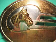 Mid Century Art Deco German Silver Horse Head 1970's Era Belt Buckle MAKE OFFER