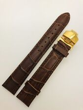 18mm Rolex Brown Genuine Leather Watch Strap With Gold Clap Buckle.