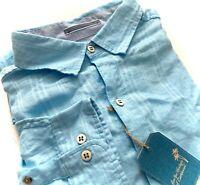 Caribbean Nwt Blue Linen Blend Tonal Check Long Sleeve Collar Shirt Big & Tall