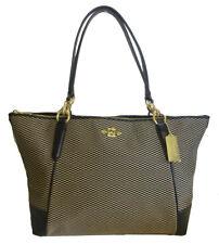 Coach F28467 Ava Legacy Jacquard Leather Black Milk Shoulder Tote Handbag