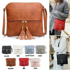 Ladies Cross Body Messenger Bag Tassel Leather Shoulder Tote Satchel Handbag Red