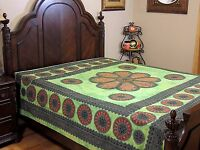 Green Floral Dot Print Bedding Cotton Indian Ethnic Bed Sheet Tapestry ~ Full