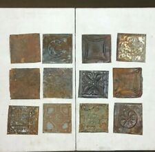 12 Antique Tin Metal Ceiling 6x6 Multi Color Crafts Art Projects VTG 21-20A